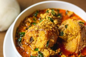 Egusi soup and pounded yam