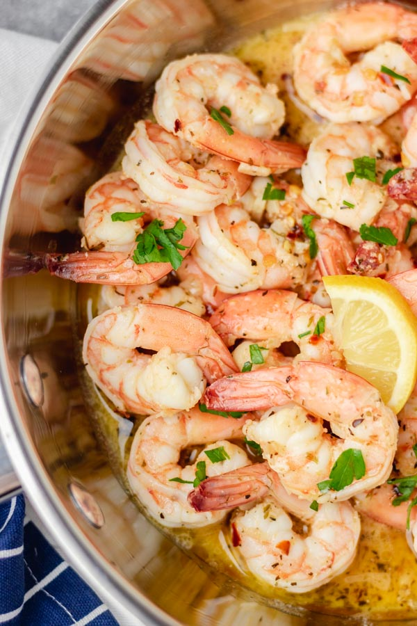 cooked shrimp in butter and garlic