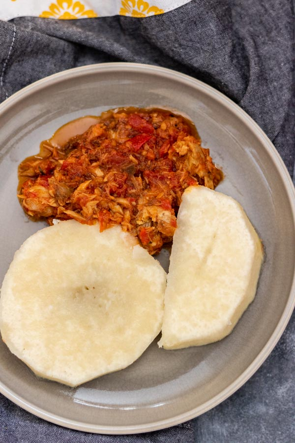 boiled yam and fish stew.