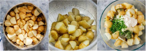 process shot of how to boil potatoes.