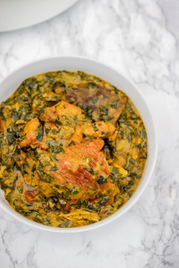 a bowl of bitter leaf soup.