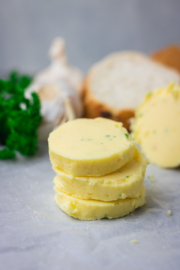 stark of sliced roasted garlic butter.