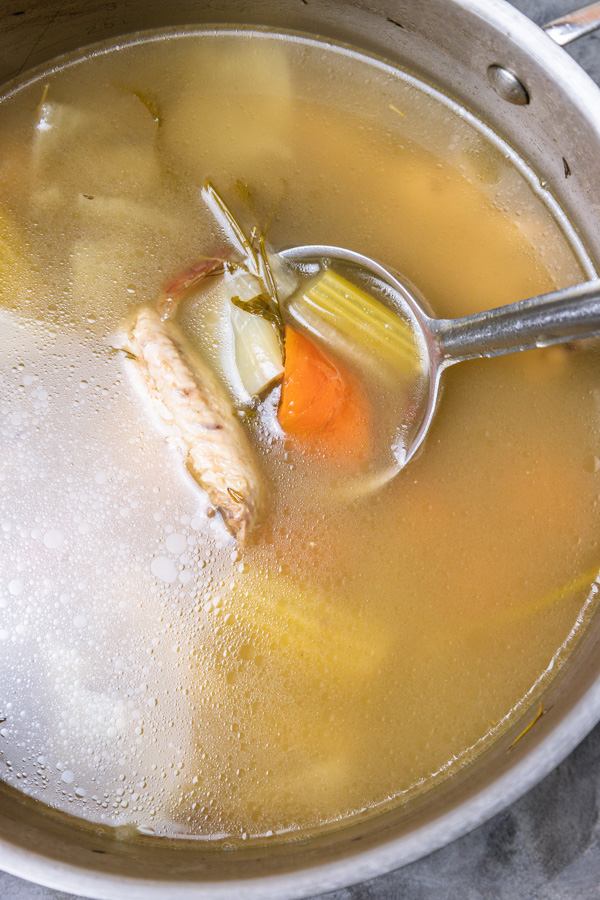a pot of chicken stock.