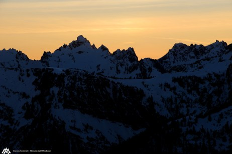 Sunset on nearby peaks.