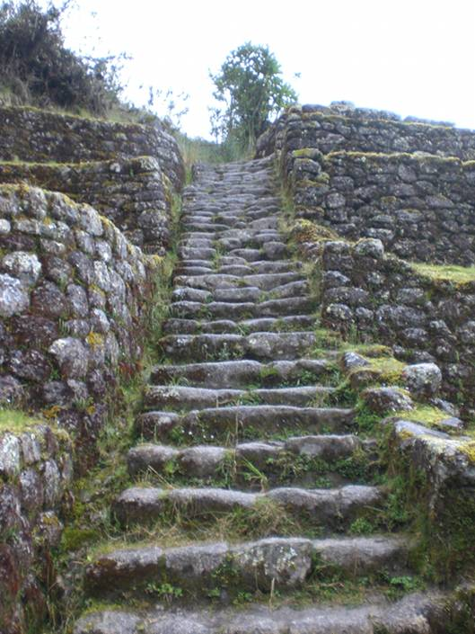 Slippery, steep Inka steps