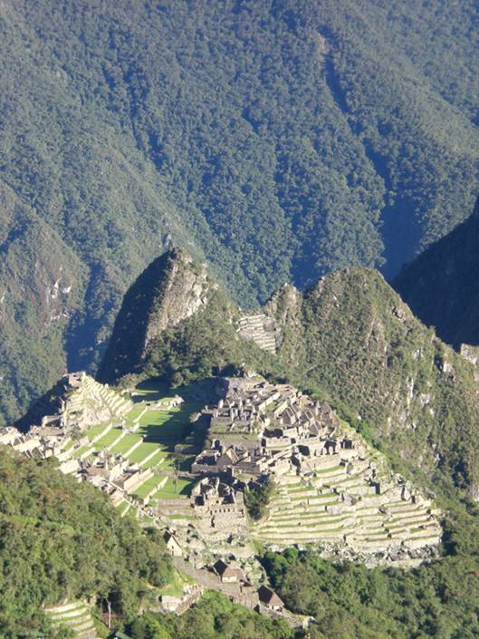 The sun has finally settled over Machu Picchu