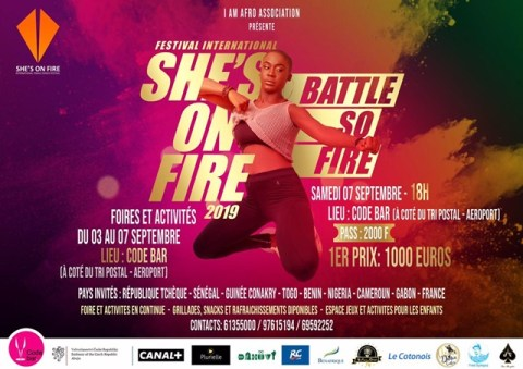 """affiche du festival international """"she's on fire"""" 2019"""