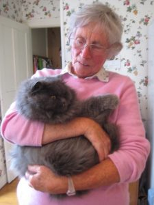 Mrs Macaulay with her cat winter 2009
