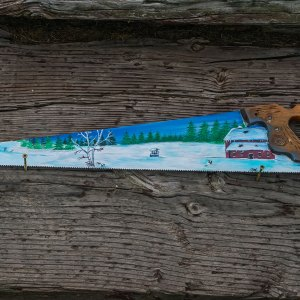 Handsaw Blade with Winter Scene