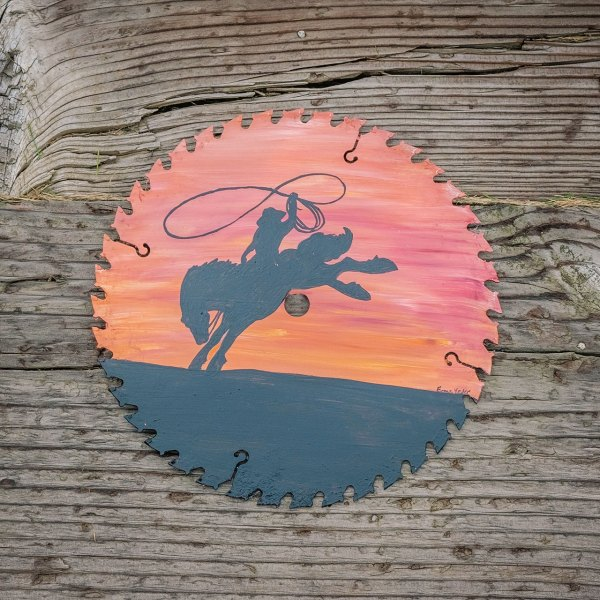 Round Saw Blade with Sunset and Bronco