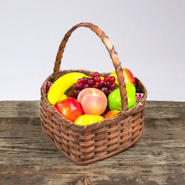 Large Heart Fruit Basket with Wooden Handle Brown