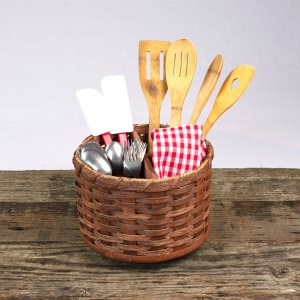 Lazy Susan Utensil Basket Brown