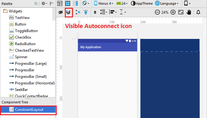 Constraint Layout - Visibile Autoconnect Icon