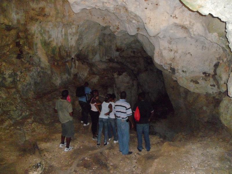 Tour group, Iguana Cave, Anguilla