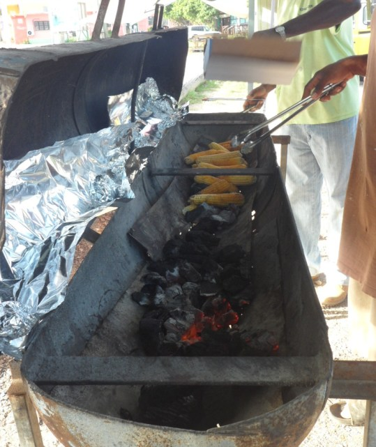 Roast corn on the grill in Anguilla