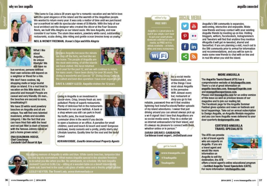 Mention of My Anguilla Experience in True Anguilla Magazine