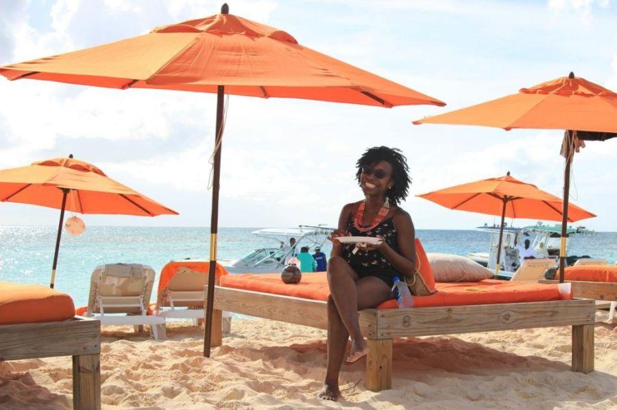 Enjoying ribs at Livin in the Sun