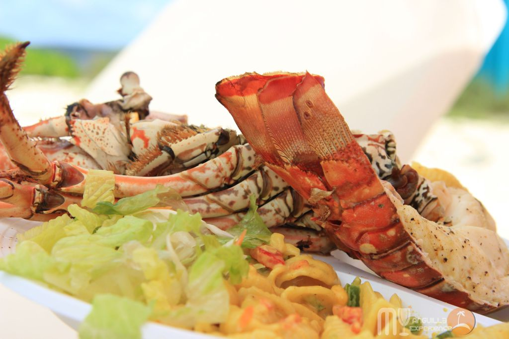 Lobster meal at Livin in the Sun Festival, Sandy Island