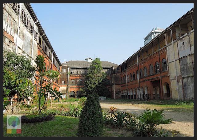 Former railway office - colonial building in Yangon - Myanmar (Burma) 2