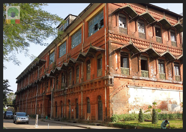 Former railway office - colonial building in Yangon - Myanmar (Burma) 4