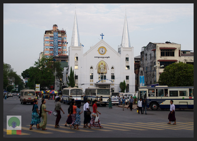 Emmanuel Baptist Church view from Sule Paya - Yangon - Myanmar (Burma)