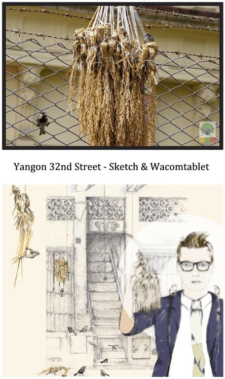 Yangon 32nd street - sketch & wacomtablet - Myanmar (Burma)