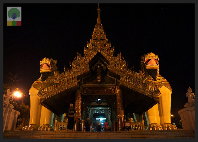Shwedagon Pagoda by night - Entrance - Yangon - Myanmar (Burma)
