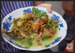 Street Snack Tour - Samosa Salad 2 - Myanmar Travel Essentials