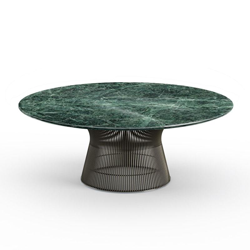 knoll table basse ronde platner o 107 x h 38 5 cm bronze vert alpi metal marbre