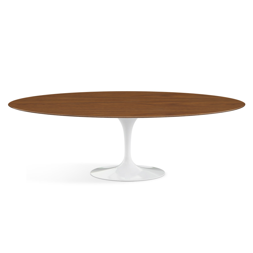 knoll table ovale tulip collection eero saarinen 244x137 cm base blanche plateau en noyer bois et aluminium