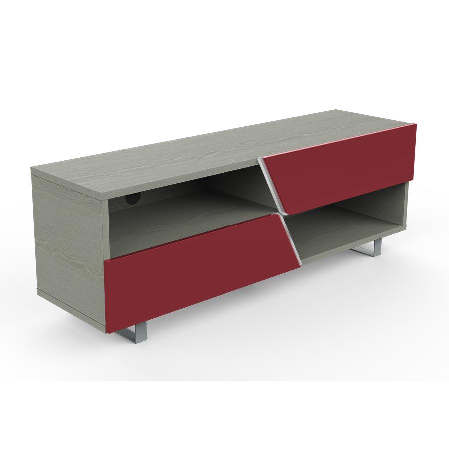 kairos home meuble tv mk162 jusqu a 65 chene gris rouge bois et metal