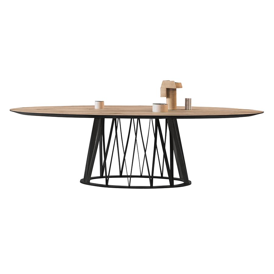 miniforms table ovale acco 260x120 cm plateau en chene vintage et base en frene noir bois