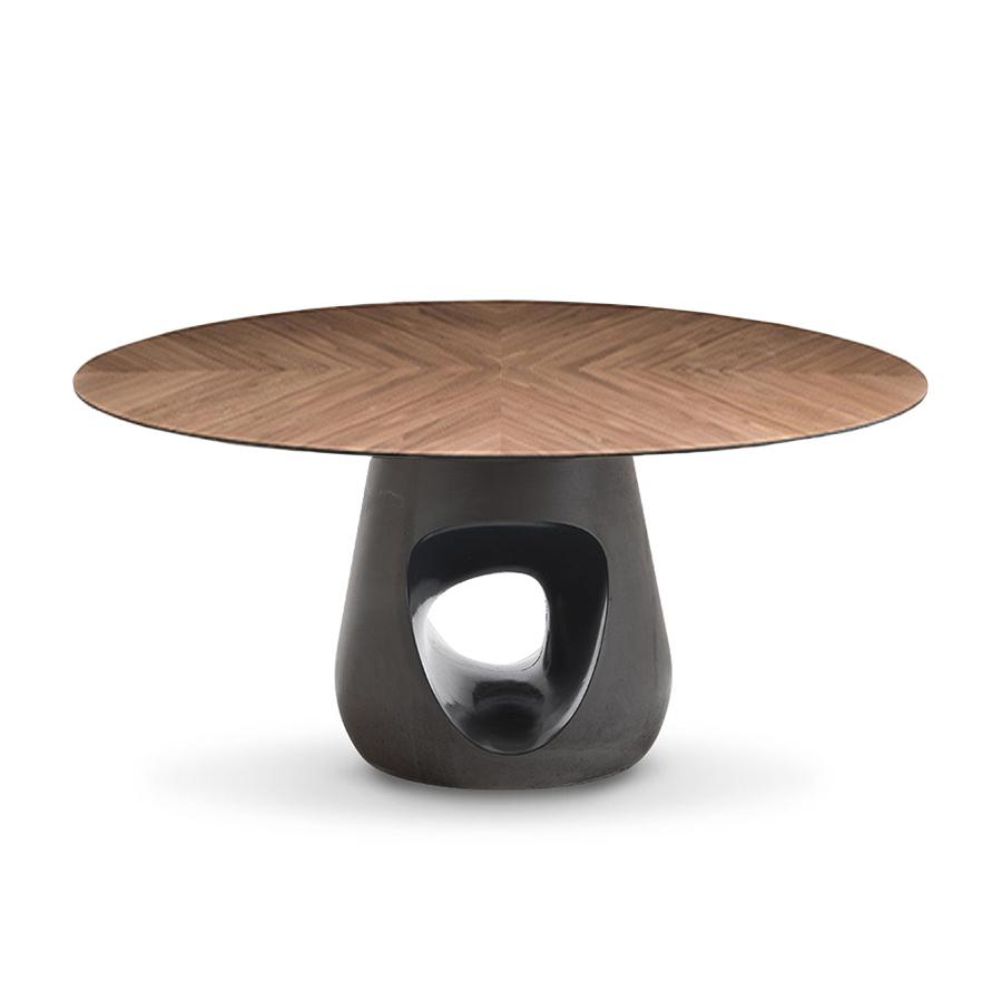 horm table ronde barbara o 140 cm noyer fonce plateau en bois et base en ciment gris fonce