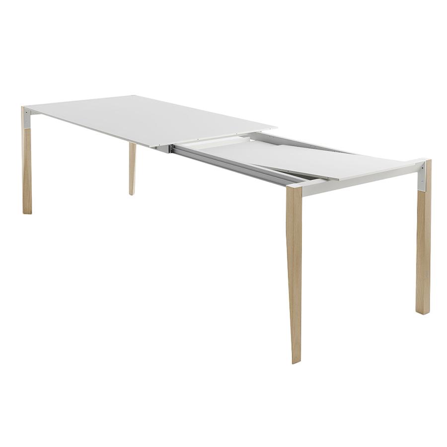 horm table extensible a rallonge rectangulaire tango avec plateau en fenix blanc 125 x 90 cm chene naturel bois massift et fenix