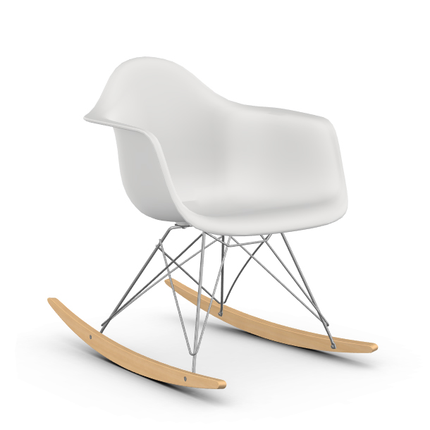 A wonderfully crafted, and fully licensed edition by vitra, this reproduction adheres strictly to the eames original design, the only change being the replacement of fibreglass shell for a more environmentally. Vitra Rocking Chair Eames Plastic Armchair Rar Chromed Base Et Yellow Maple Myareadesign It