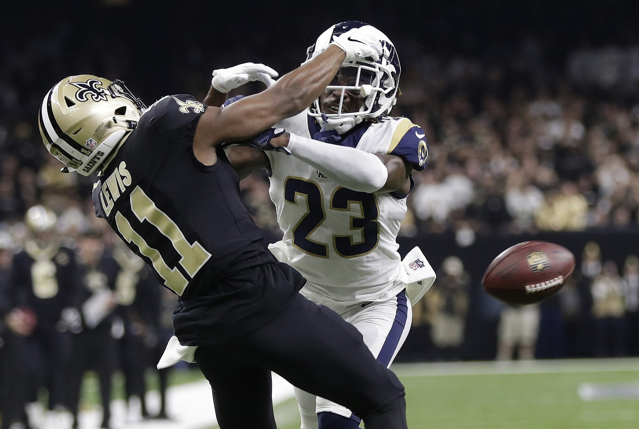 b9705999474 20, 2019, file photo, Los Angeles Rams' Nickell Robey-Coleman breaks up a  pass intended for New Orleans Saints' Tommylee Lewis during the second half  of the ...