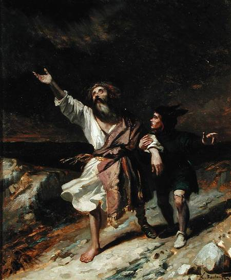Louis Boulanger - King Lear and the Fool in the Storm Act III Scene 2 from 'King Lear'  1836