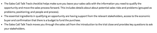 sales call track