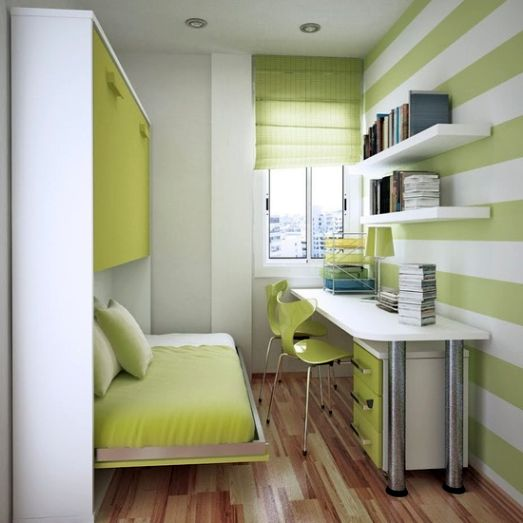 Neat green home office in very small bedroom design ideas on Very Small Bedroom Ideas  id=39450