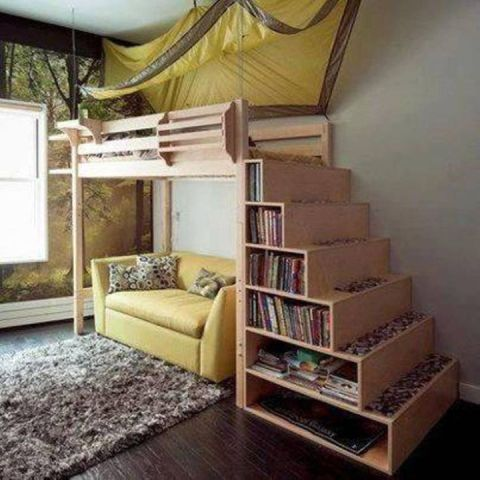 adult loft bed with stairs with canopy and stairs shelving So  what do you think about adult loft bed with stairs with canopy and  stairs shelving above  It s amazing  right  Just so you know  that photo is  only one