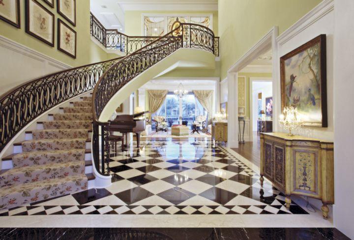 luxurious black and white tile flooring ideas for living room