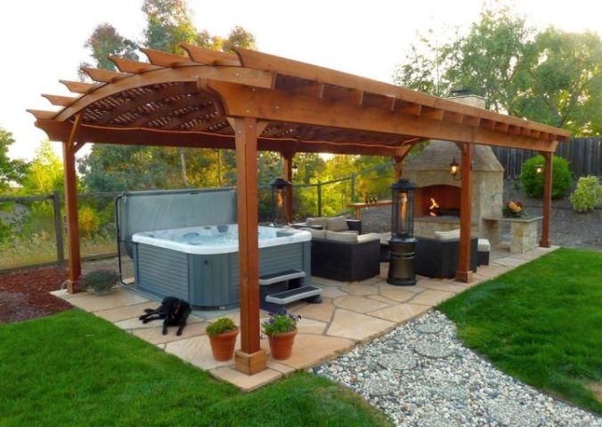 modern pergola kit with outdoor kitchen