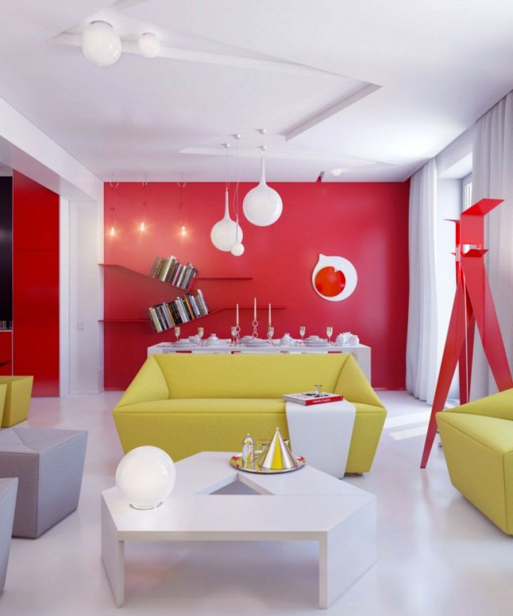 18 Astounding Red Wall Accent in Living Room Ideas
