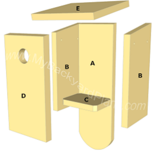 Free Bluebird House Plans   How to Build a Bird House birdhouse parts bluebird house plans