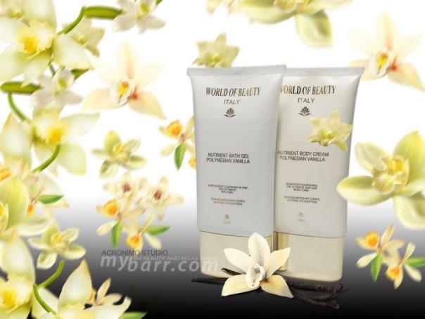 corpo Nutrient Bath Gel Polynesian Vanilla e Nutrient Body Cream World of Beauty mybarr