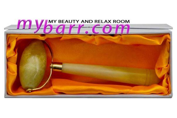 rullo di giada jade roller confezione con seta white lotus mybarr
