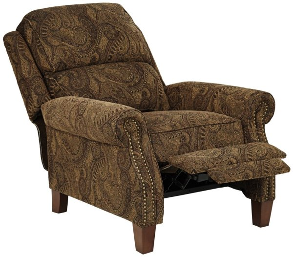 Beaumont Warm Brown Paisley Push-Thru Arm 3-Way Recliner for bad back