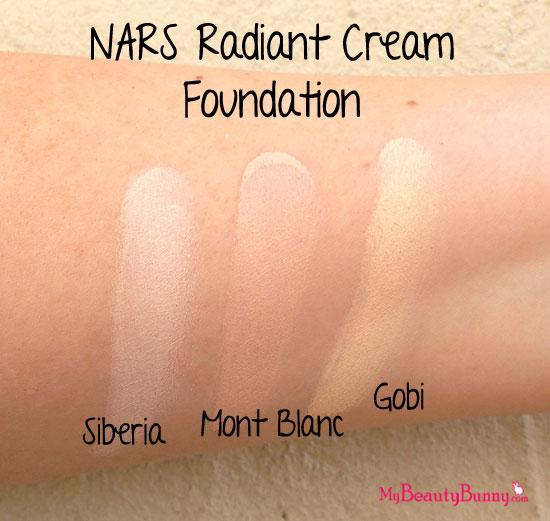 NARS Radiant Cream Foundation swatches