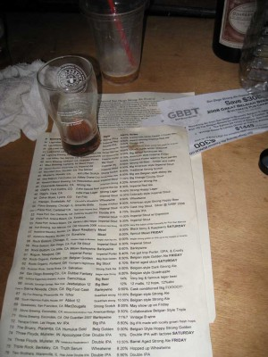 There were 80 beers on the main list alone; 25 more on an additional list