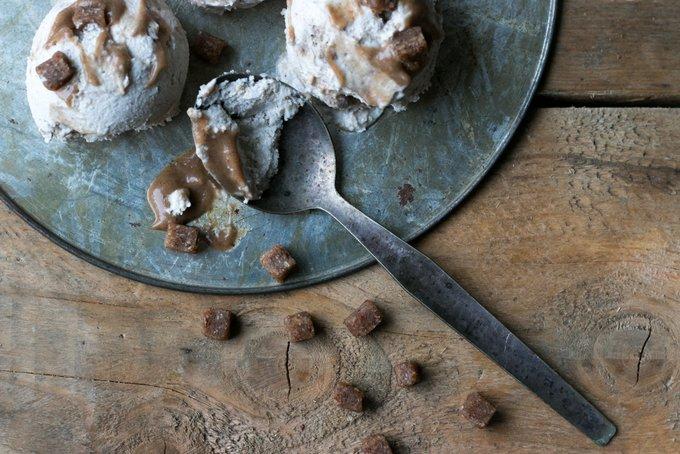 Tahini caramel swirl ice cream with pecan cookie bites. Vegan, gluten free, myberryforest.com